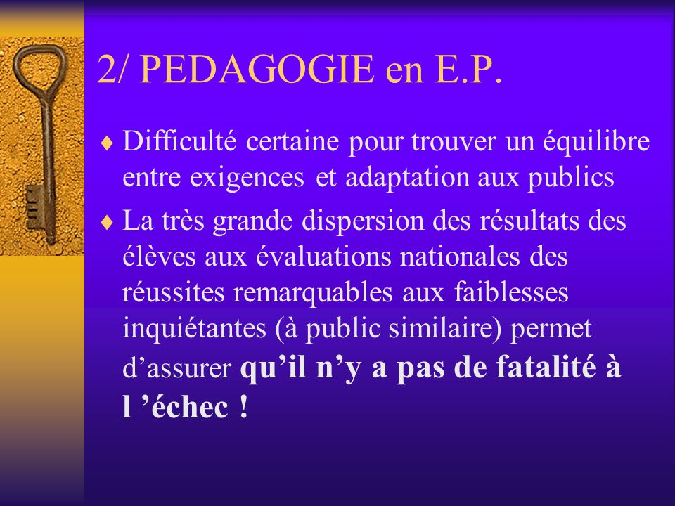 2/ PEDAGOGIE en E.P.