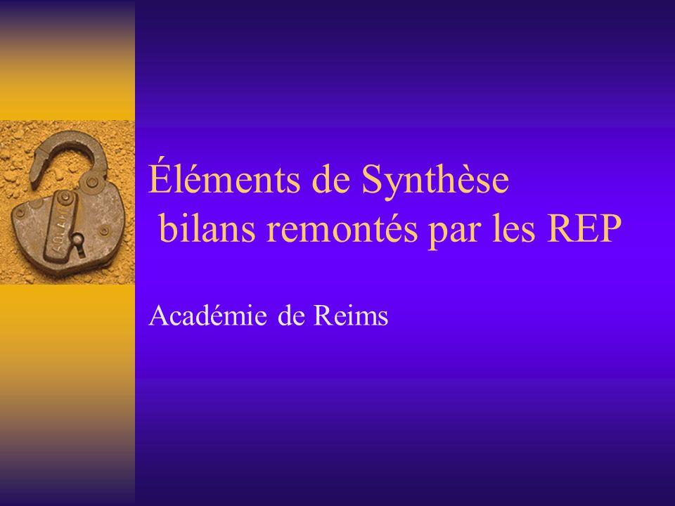 Éléments de Synthèse bilans remontés par les REP Académie de Reims