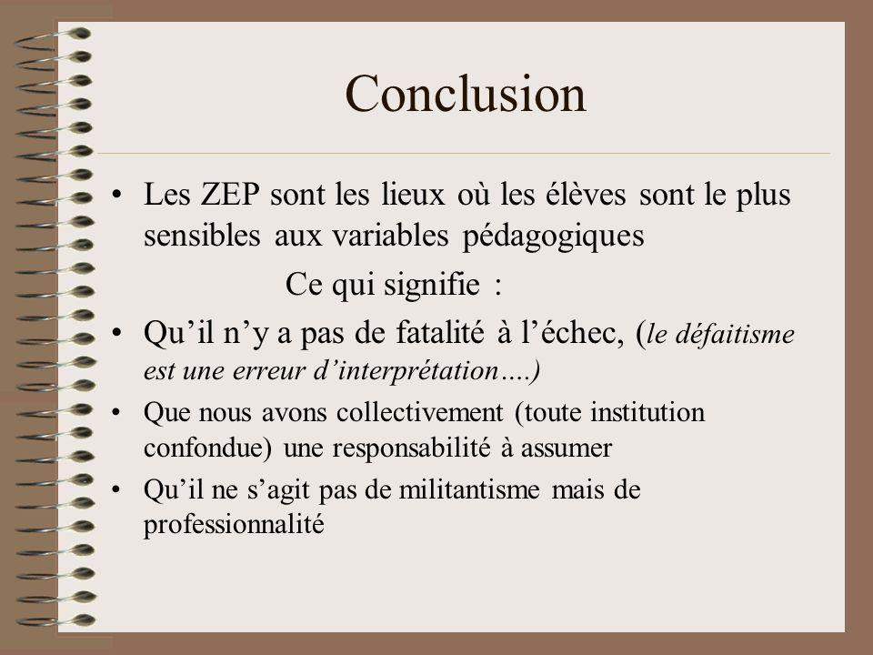 Conclusion Les ZEP sont les lieux où les élèves sont le plus sensibles aux variables pédagogiques Ce qui signifie : Quil ny a pas de fatalité à léchec