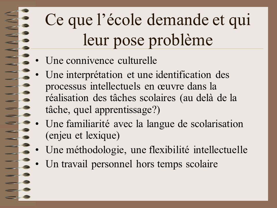Ce que lécole demande et qui leur pose problème Une connivence culturelle Une interprétation et une identification des processus intellectuels en œuvr