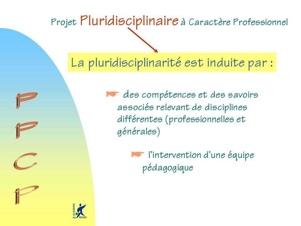 Projet Pluridisciplinaire à Caractère Professionnel La pluridisciplinarité est induite par : d es compétences et des savoirs associés relevant de disc