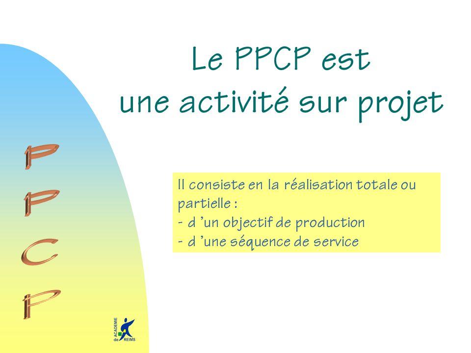 Le PPCP est une activité sur projet Il consiste en la réalisation totale ou partielle : - d un objectif de production - d une séquence de service