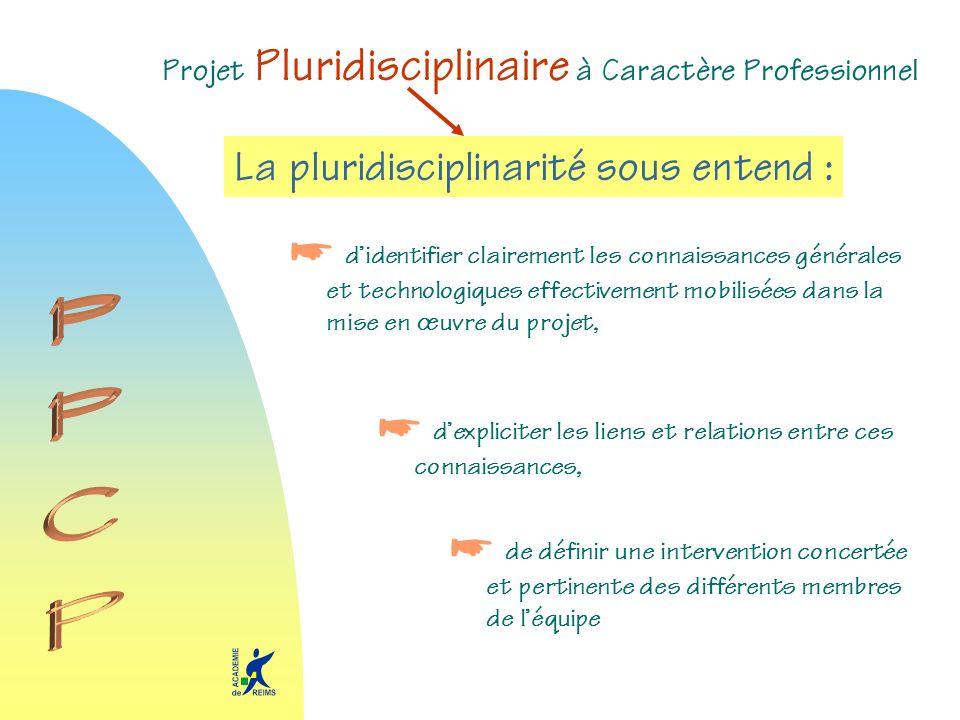 Projet Pluridisciplinaire à Caractère Professionnel La pluridisciplinarité sous entend : didentifier clairement les connaissances générales et technol