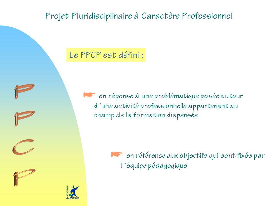 Projet Pluridisciplinaire à Caractère Professionnel Le PPCP est défini : en réponse à une problématique posée autour d une activité professionnelle ap