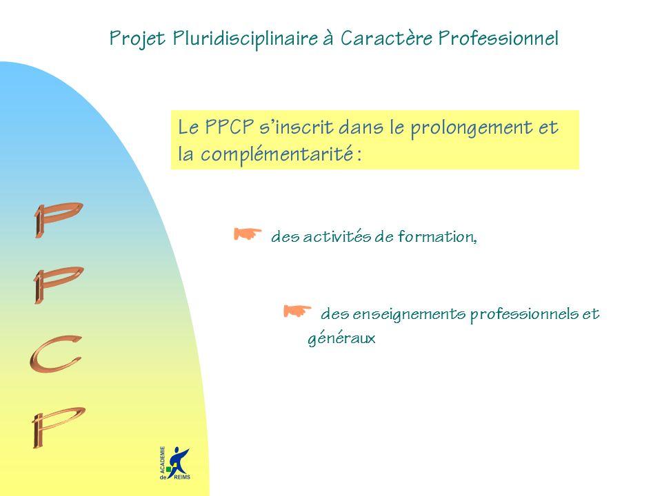 Projet Pluridisciplinaire à Caractère Professionnel Le PPCP sinscrit dans le prolongement et la complémentarité : des activités de formation, des ense