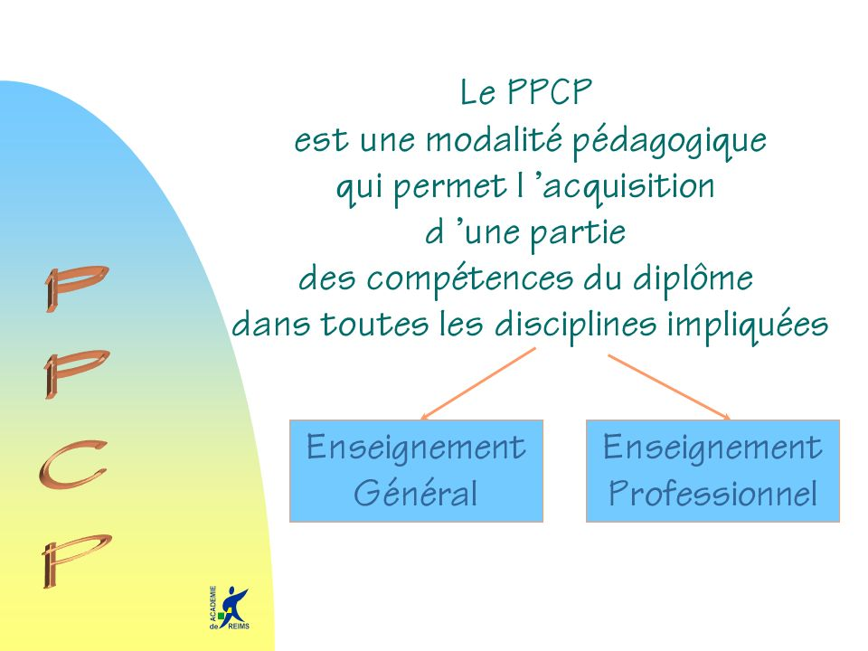 Le PPCP est une modalité pédagogique qui permet l acquisition d une partie des compétences du diplôme dans toutes les disciplines impliquées Enseignem