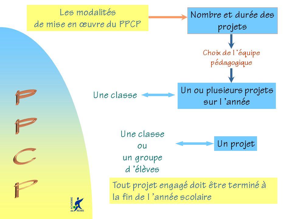 Les modalités de mise en œuvre du PPCP Choix de l équipe pédagogique Une classe Un ou plusieurs projets sur l année Un projet Une classe ou un groupe