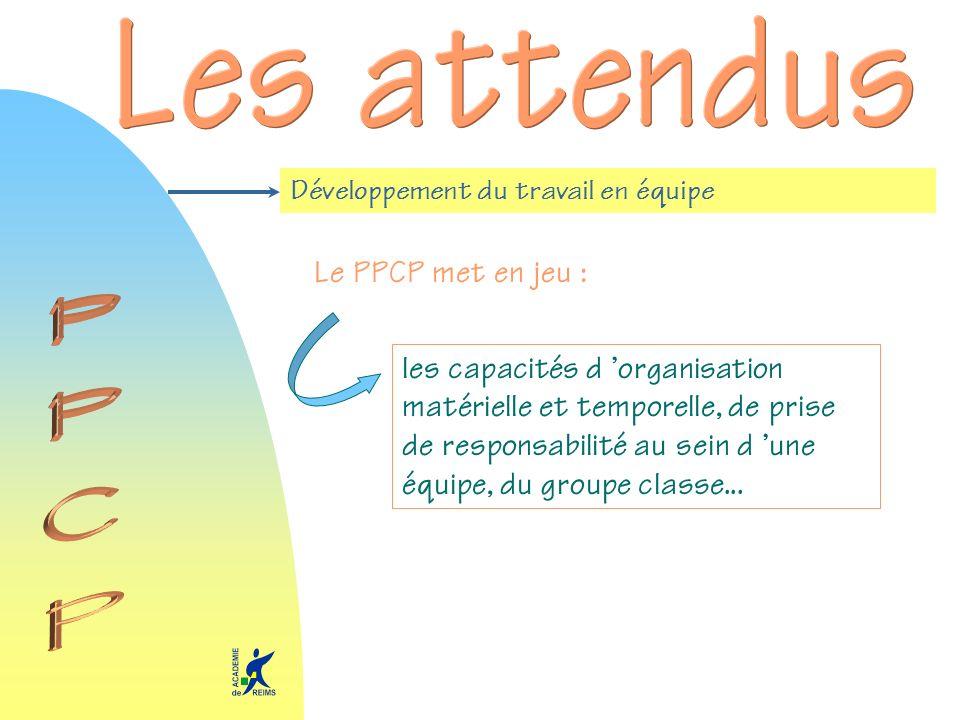 Développement du travail en équipe Le PPCP met en jeu : les capacités d organisation matérielle et temporelle, de prise de responsabilité au sein d une équipe, du groupe classe...
