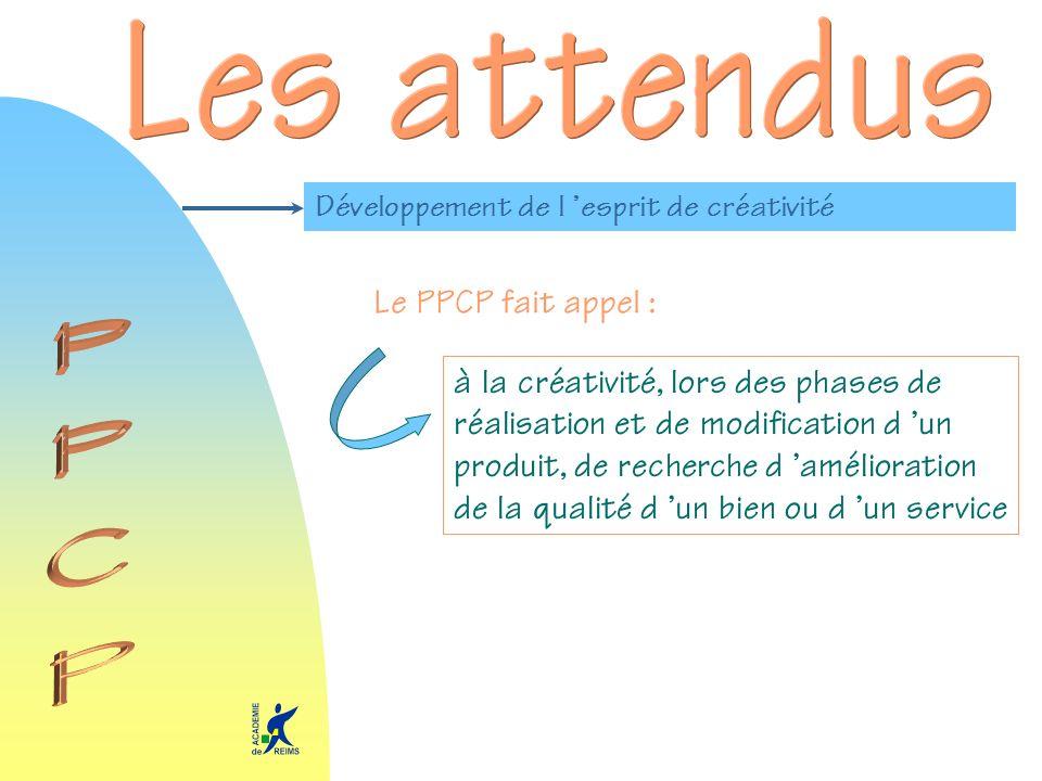Développement de l esprit de créativité Le PPCP fait appel : à la créativité, lors des phases de réalisation et de modification d un produit, de reche