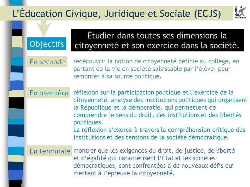 Objectifs Étudier dans toutes ses dimensions la citoyenneté et son exercice dans la société. En seconde En première En terminale redécouvrir la notion
