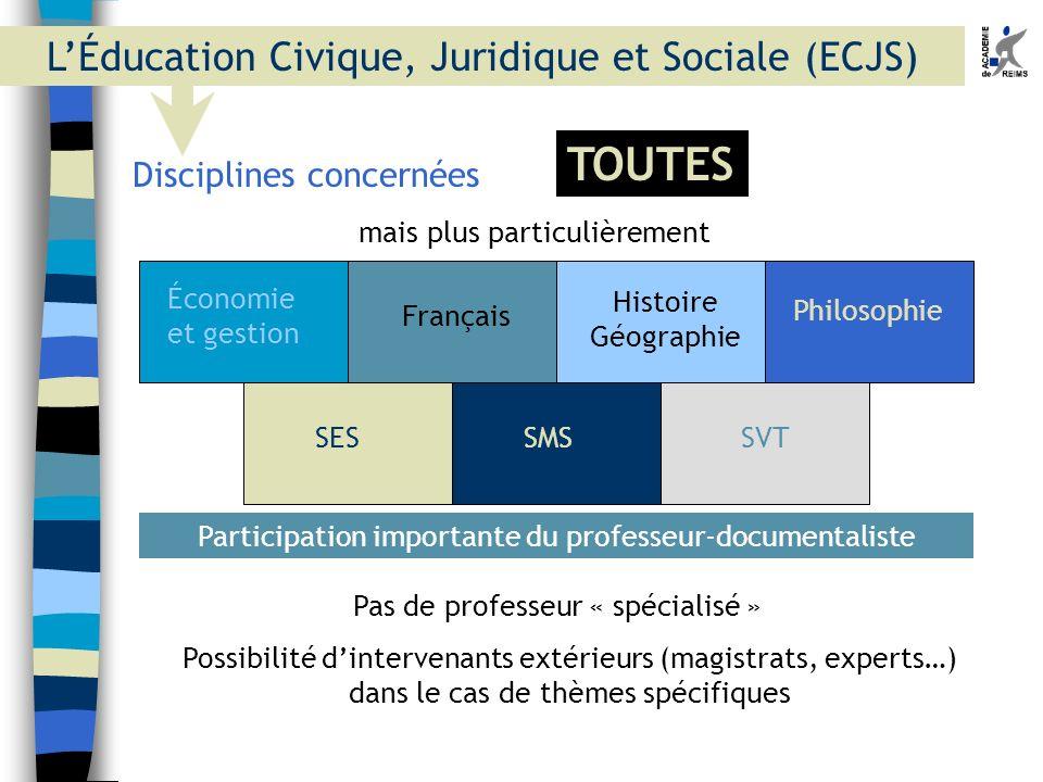 Pas de professeur « spécialisé » Disciplines concernées mais plus particulièrement Économie et gestion Français Histoire Géographie Philosophie SESSMS