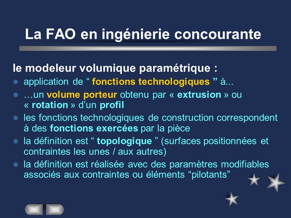 La FAO en ingénierie concourante le modeleur volumique paramétrique : application de fonctions technologiques à... …un volume porteur obtenu par « ext