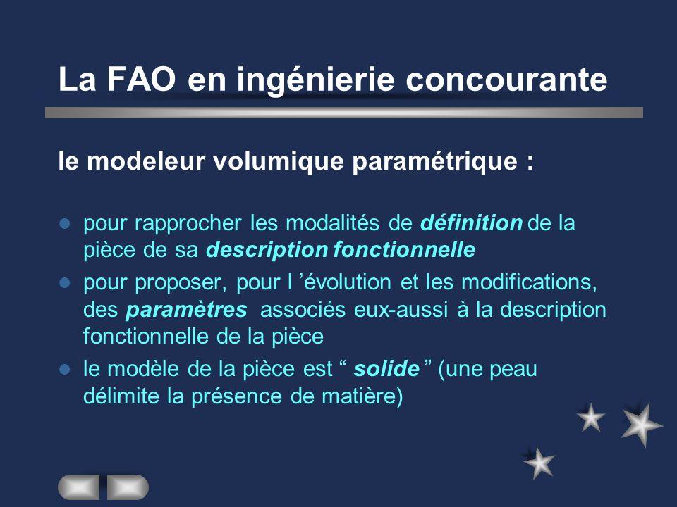La FAO en ingénierie concourante le modeleur volumique paramétrique : pour rapprocher les modalités de définition de la pièce de sa description foncti