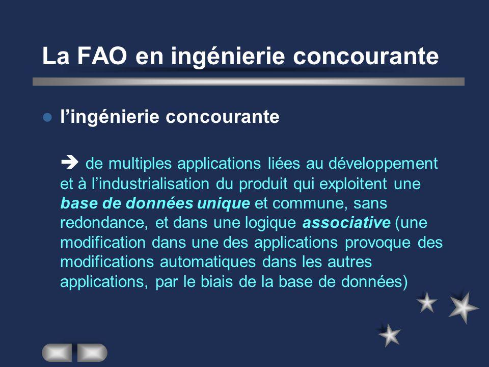 La FAO en ingénierie concourante lingénierie concourante de multiples applications liées au développement et à lindustrialisation du produit qui explo