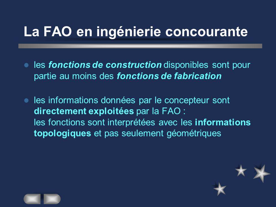La FAO en ingénierie concourante les fonctions de construction disponibles sont pour partie au moins des fonctions de fabrication les informations don