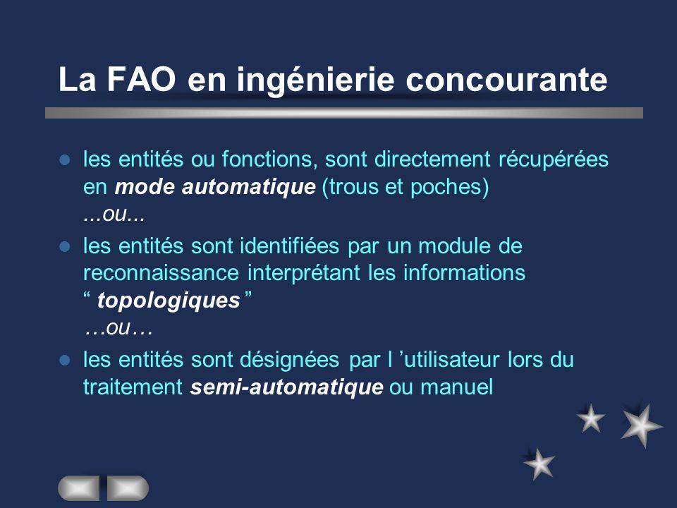 La FAO en ingénierie concourante les entités ou fonctions, sont directement récupérées en mode automatique (trous et poches)...ou... les entités sont