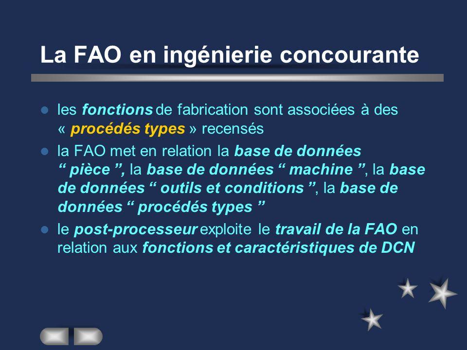 La FAO en ingénierie concourante les fonctions de fabrication sont associées à des « procédés types » recensés la FAO met en relation la base de donné