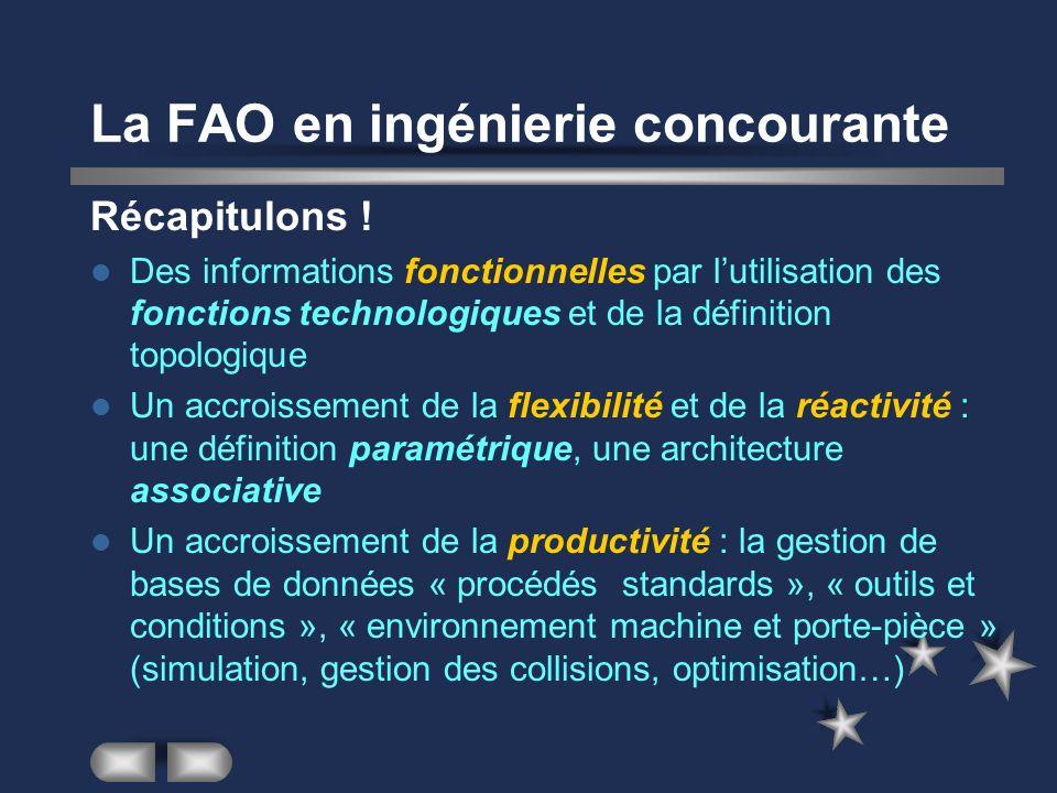 La FAO en ingénierie concourante Récapitulons ! Des informations fonctionnelles par lutilisation des fonctions technologiques et de la définition topo
