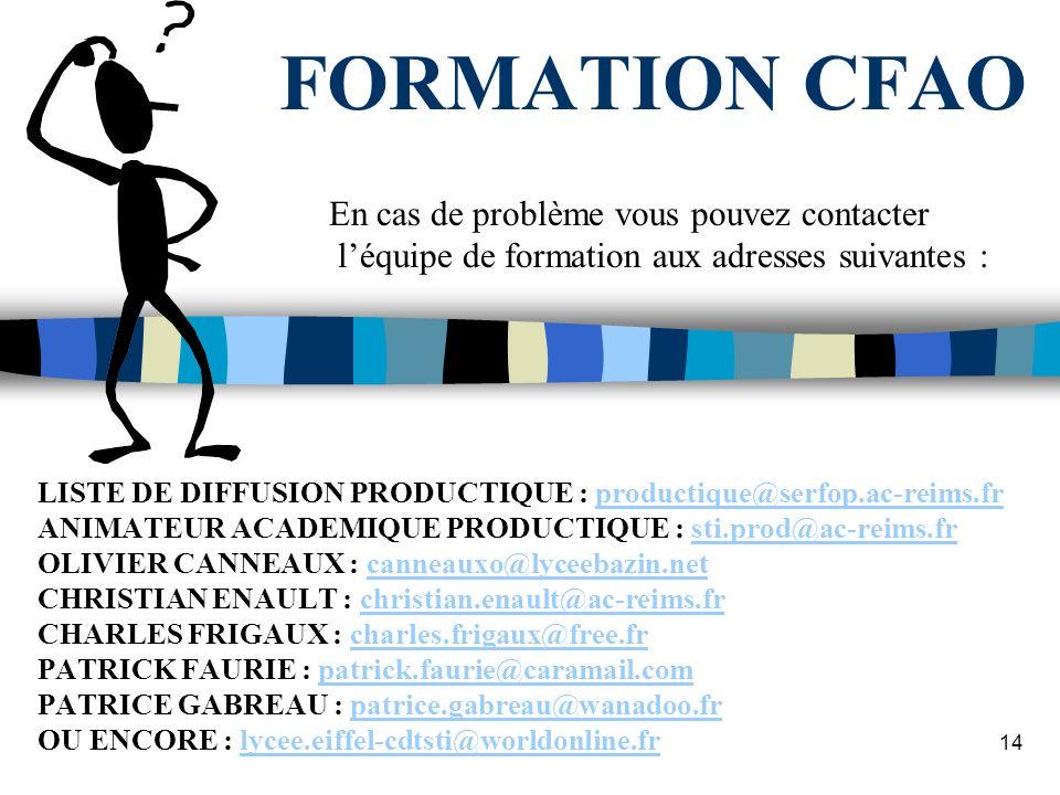 13 FORMATION CFAO Et maintenant, au travail ! Exercice dapplication : AXE DE REDUCTEUR Top Solid Top Cam