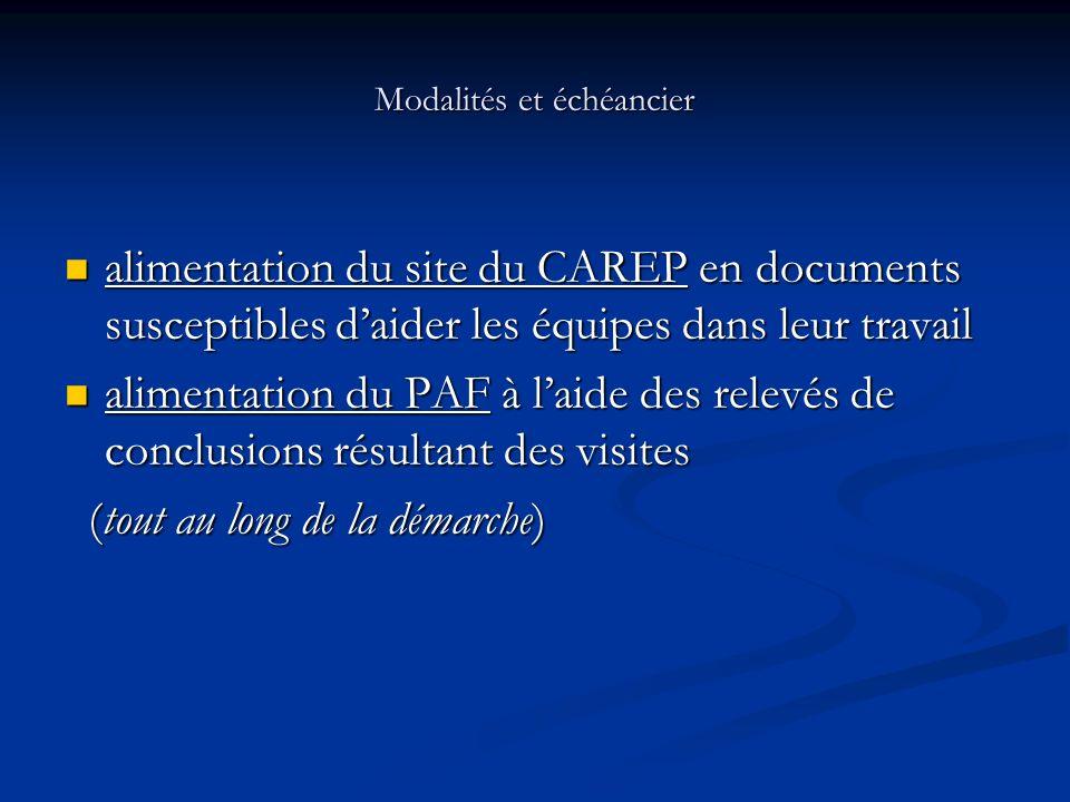 Modalités et échéancier alimentation du site du CAREP en documents susceptibles daider les équipes dans leur travail alimentation du site du CAREP en