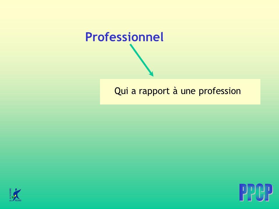 Professionnel Qui a rapport à une profession