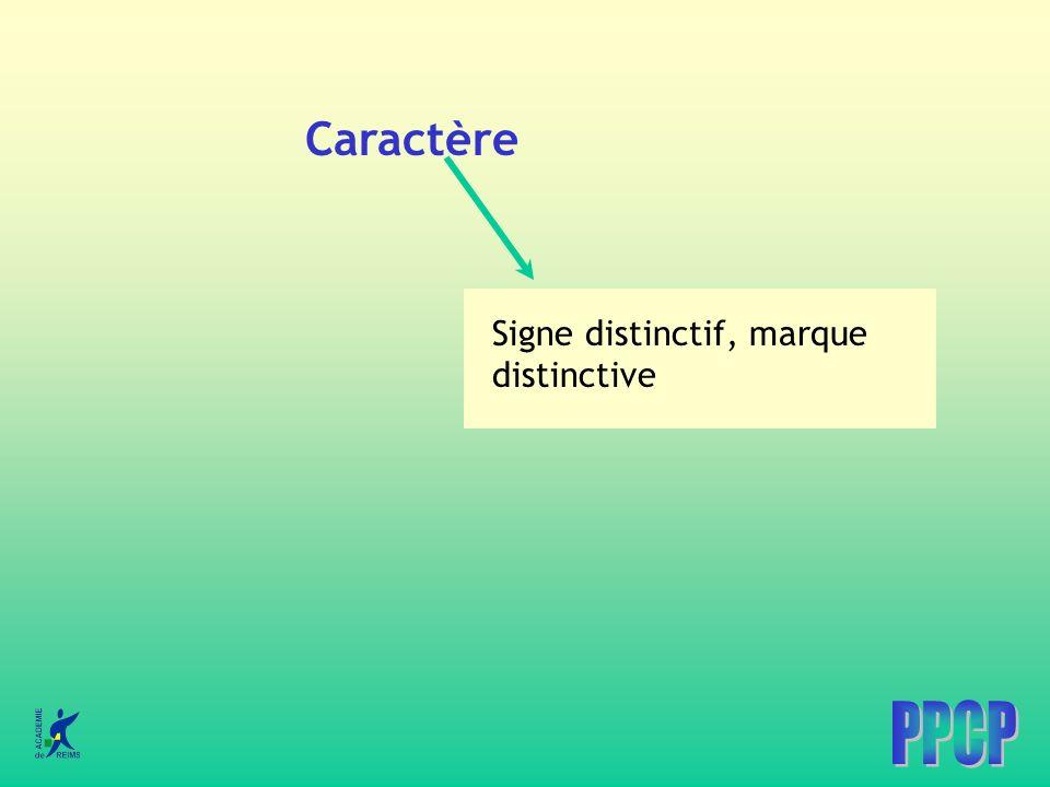 Caractère Signe distinctif, marque distinctive