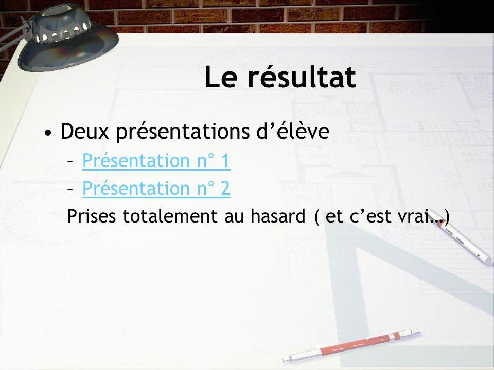 Le résultat Deux présentations délève –Présentation n° 1Présentation n° 1 –Présentation n° 2Présentation n° 2 Prises totalement au hasard ( et cest vrai…)