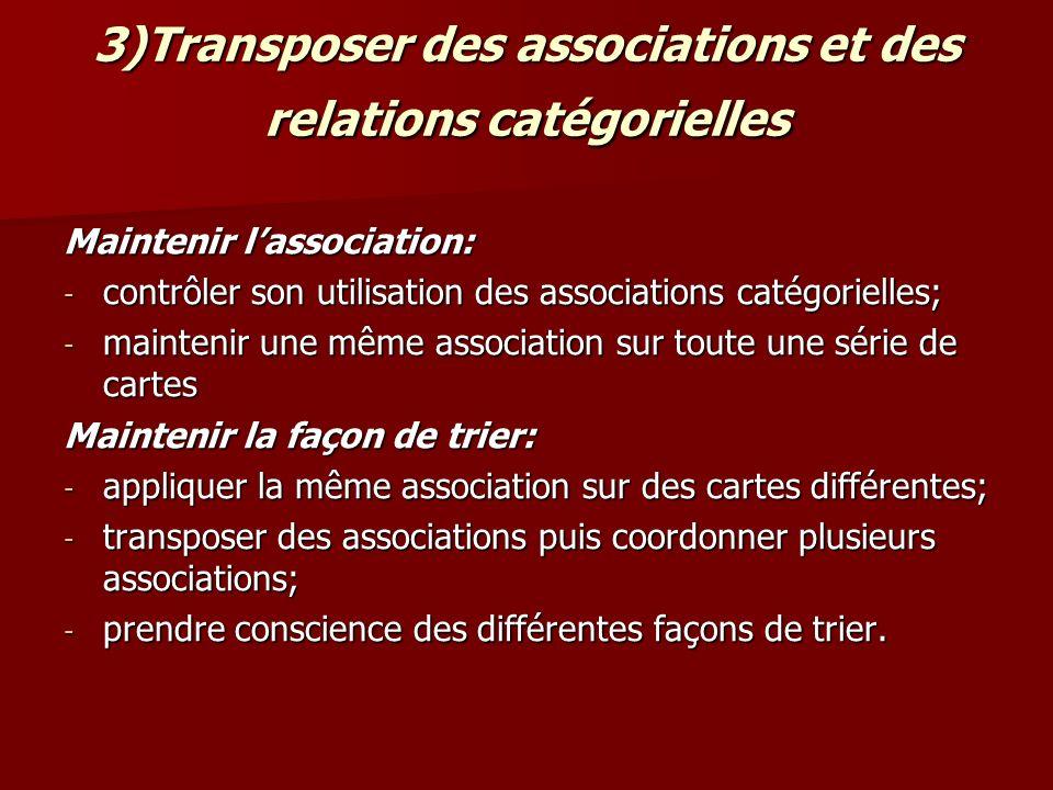 3)Transposer des associations et des relations catégorielles Maintenir lassociation: - contrôler son utilisation des associations catégorielles; - mai