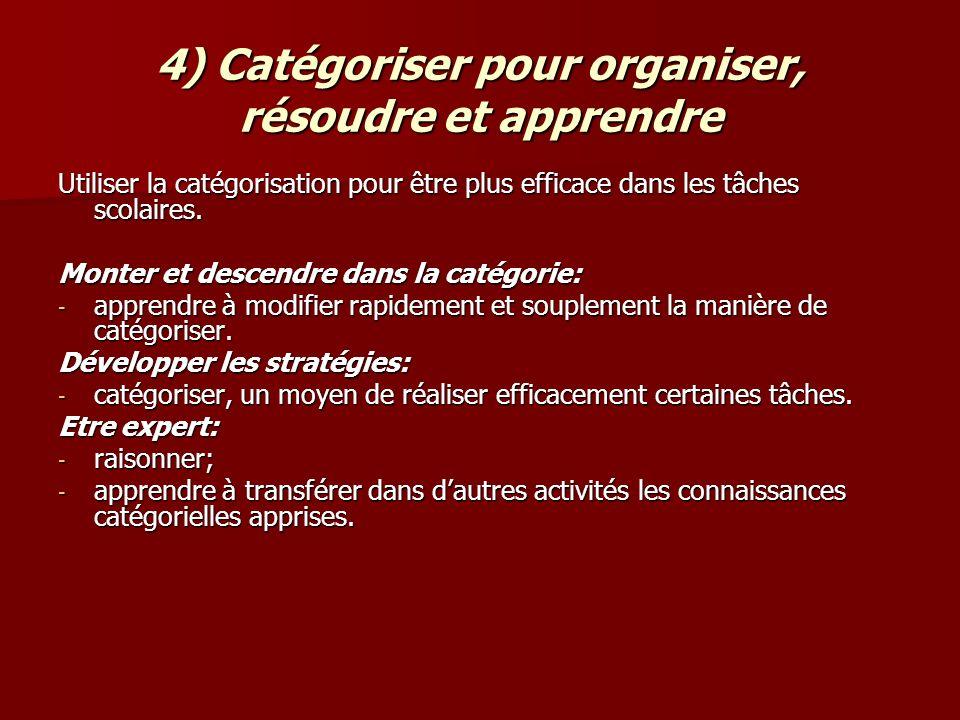 4) Catégoriser pour organiser, résoudre et apprendre Utiliser la catégorisation pour être plus efficace dans les tâches scolaires. Monter et descendre
