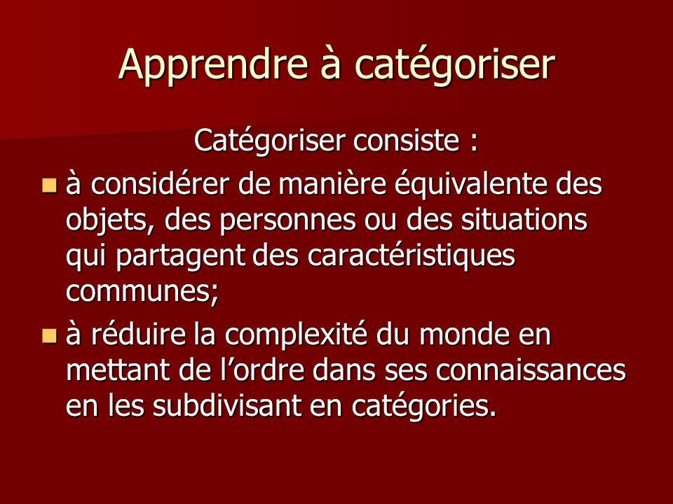 Apprendre à catégoriser Catégoriser consiste : à considérer de manière équivalente des objets, des personnes ou des situations qui partagent des carac