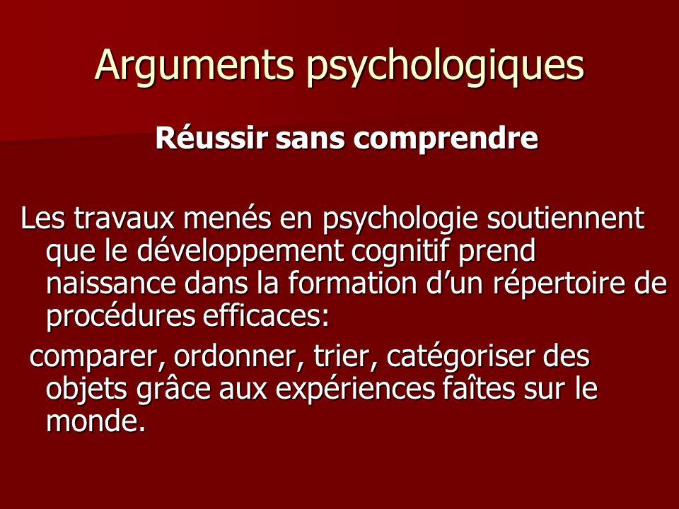 Arguments psychologiques Réussir sans comprendre Les travaux menés en psychologie soutiennent que le développement cognitif prend naissance dans la fo