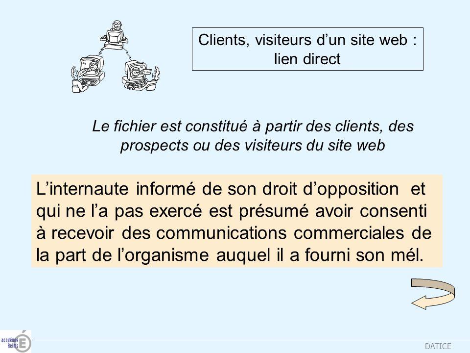 DATICE Clients, visiteurs dun site web : lien direct Le fichier est constitué à partir des clients, des prospects ou des visiteurs du site web Lintern