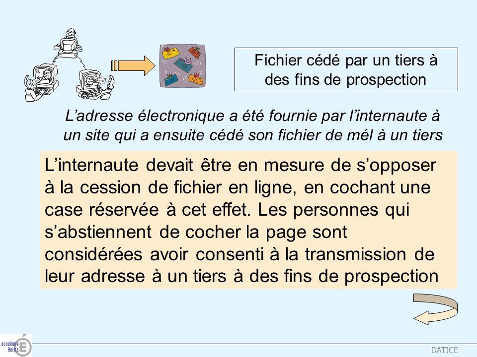 DATICE Fichier cédé par un tiers à des fins de prospection Ladresse électronique a été fournie par linternaute à un site qui a ensuite cédé son fichie