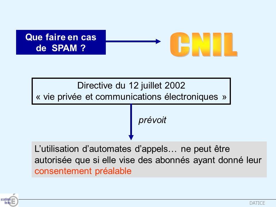 DATICE Que faire en cas de SPAM ? Directive du 12 juillet 2002 « vie privée et communications électroniques » prévoit Lutilisation dautomates dappels…