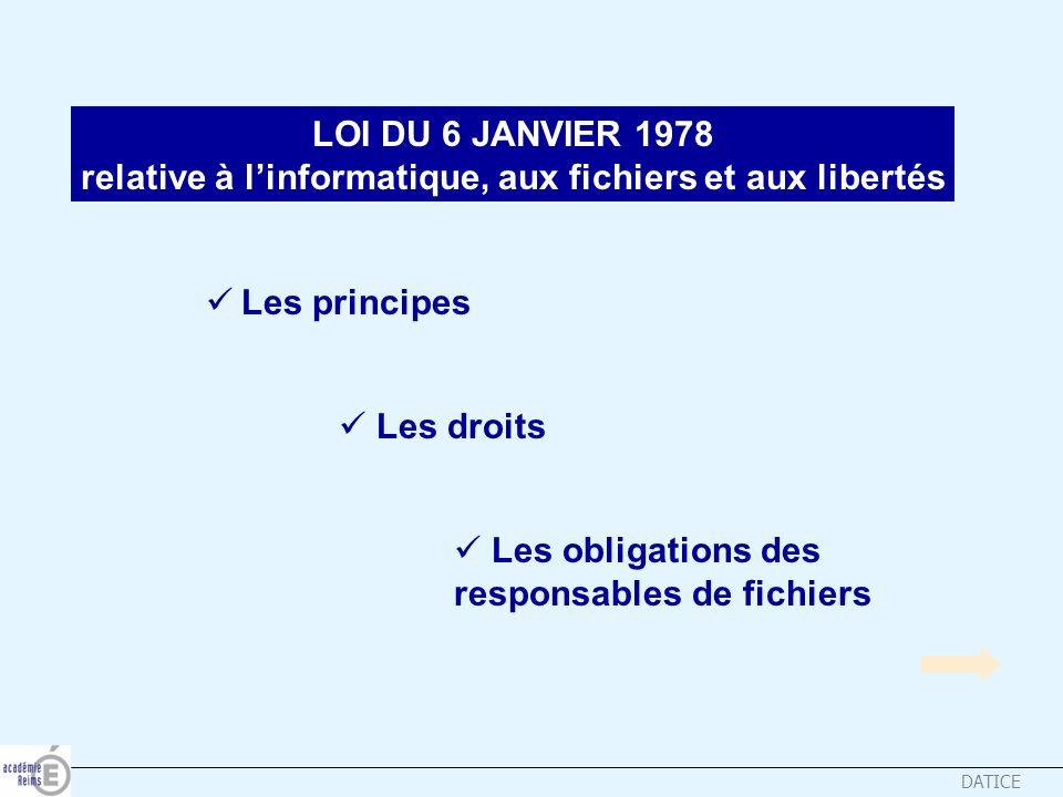 DATICE LOI DU 6 JANVIER 1978 relative à linformatique, aux fichiers et aux libertés Les principes Les principes Les droits Les droits Les obligations