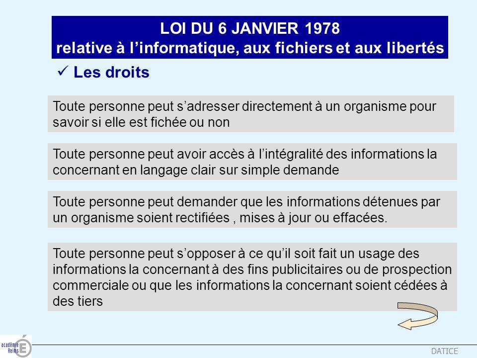 DATICE LOI DU 6 JANVIER 1978 relative à linformatique, aux fichiers et aux libertés Les droits Toute personne peut sadresser directement à un organism