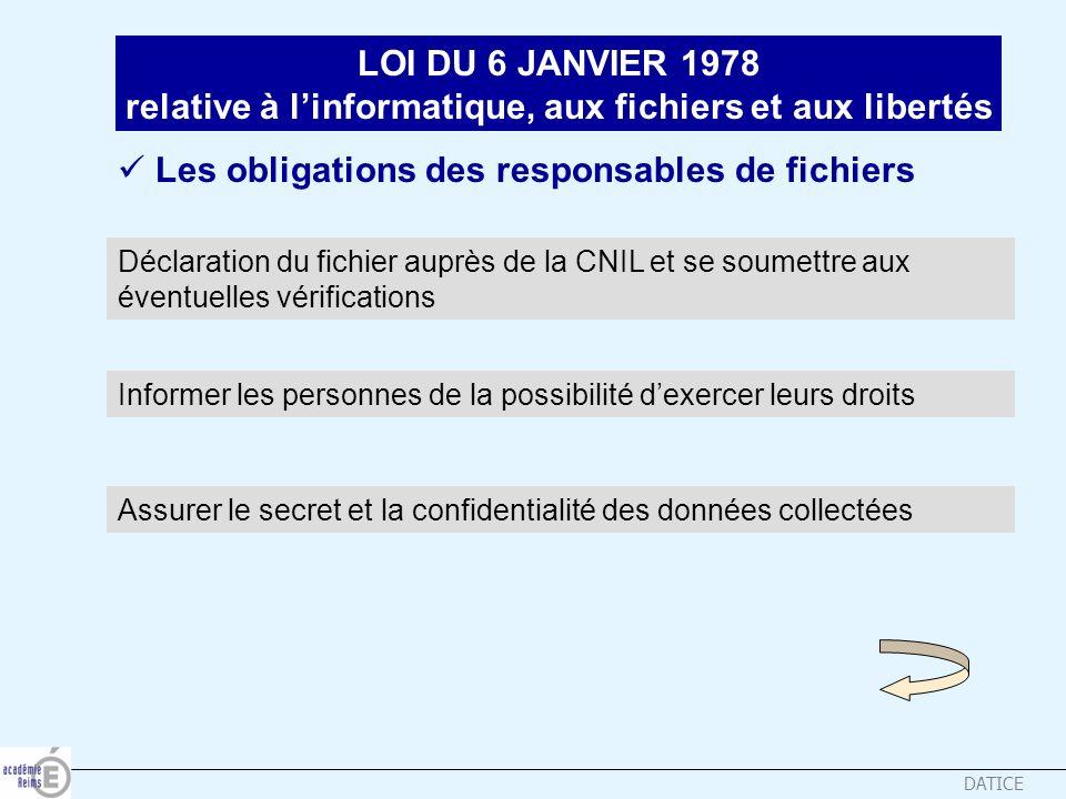 DATICE LOI DU 6 JANVIER 1978 relative à linformatique, aux fichiers et aux libertés Déclaration du fichier auprès de la CNIL et se soumettre aux évent