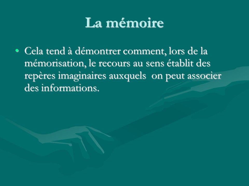 La mémoire Cela tend à démontrer comment, lors de la mémorisation, le recours au sens établit des repères imaginaires auxquels on peut associer des informations.Cela tend à démontrer comment, lors de la mémorisation, le recours au sens établit des repères imaginaires auxquels on peut associer des informations.