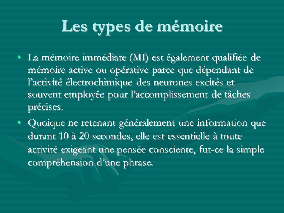 Les types de mémoire La mémoire immédiate (MI) est également qualifiée de mémoire active ou opérative parce que dépendant de lactivité électrochimique des neurones excités et souvent employée pour laccomplissement de tâches précises.La mémoire immédiate (MI) est également qualifiée de mémoire active ou opérative parce que dépendant de lactivité électrochimique des neurones excités et souvent employée pour laccomplissement de tâches précises.