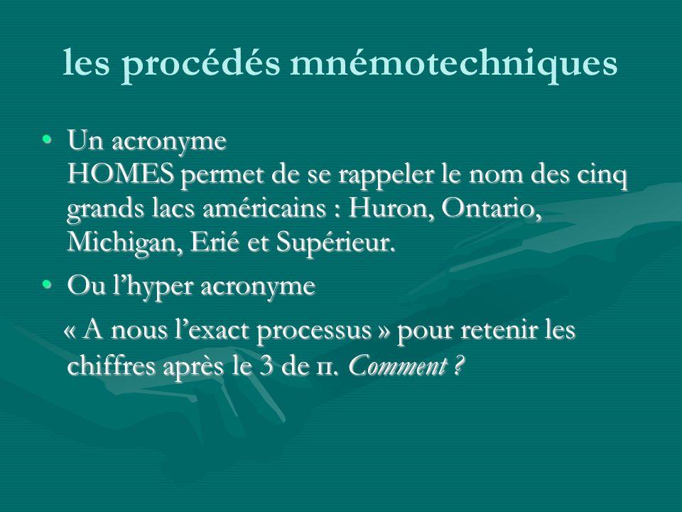 les procédés mnémotechniques Un acronyme HOMES permet de se rappeler le nom des cinq grands lacs américains : Huron, Ontario, Michigan, Erié et Supérieur.Un acronyme HOMES permet de se rappeler le nom des cinq grands lacs américains : Huron, Ontario, Michigan, Erié et Supérieur.