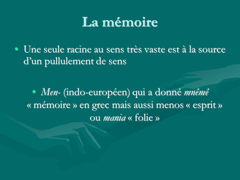 La mémoire Une seule racine au sens très vaste est à la source dun pullulement de sensUne seule racine au sens très vaste est à la source dun pullulement de sens Men- (indo-européen) qui a donné mnêmê « mémoire » en grec mais aussi menos « esprit » ou mania « folie »Men- (indo-européen) qui a donné mnêmê « mémoire » en grec mais aussi menos « esprit » ou mania « folie »