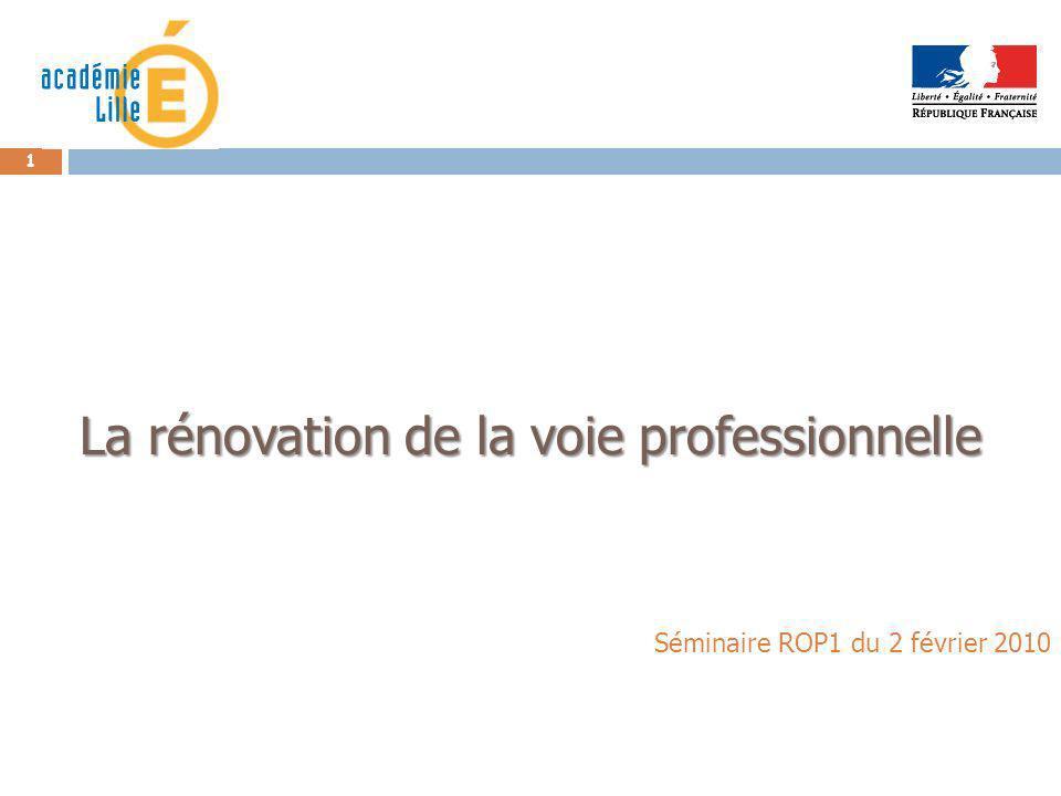 1 La rénovation de la voie professionnelle Séminaire ROP1 du 2 février 2010