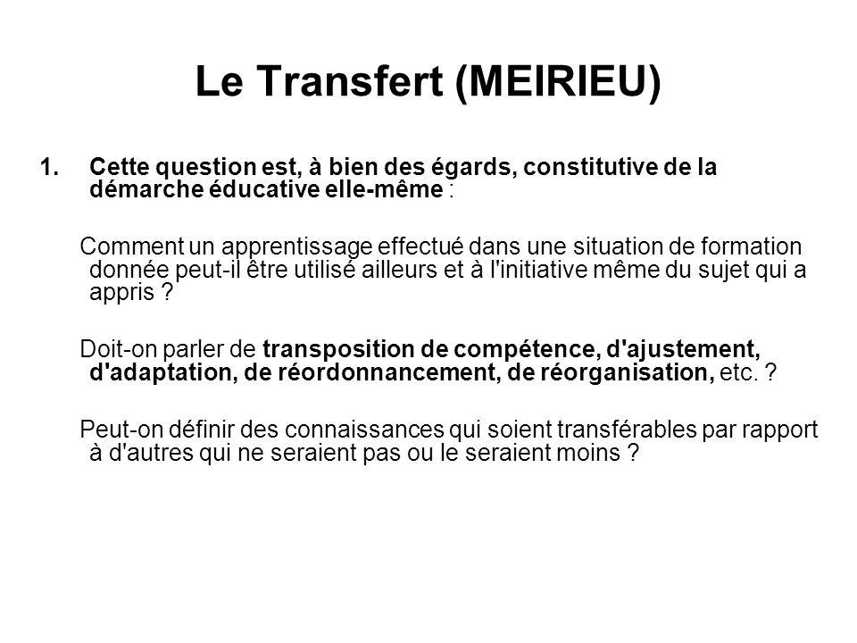 Le Transfert (MEIRIEU) 1.Cette question est, à bien des égards, constitutive de la démarche éducative elle-même : Comment un apprentissage effectué da
