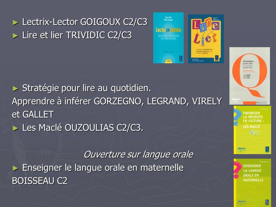 Lectrix-Lector GOIGOUX C2/C3 Lectrix-Lector GOIGOUX C2/C3 Lire et lier TRIVIDIC C2/C3 Lire et lier TRIVIDIC C2/C3 Stratégie pour lire au quotidien. St