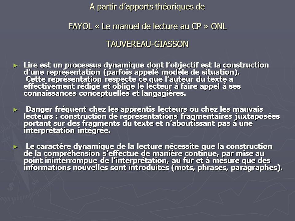 A partir dapports théoriques de FAYOL « Le manuel de lecture au CP » ONL TAUVEREAU-GIASSON Lire est un processus dynamique dont lobjectif est la const