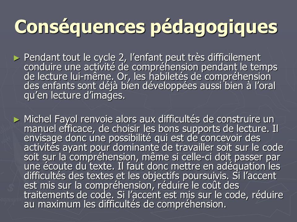 Conséquences pédagogiques Conséquences pédagogiques Pendant tout le cycle 2, lenfant peut très difficilement conduire une activité de compréhension pe