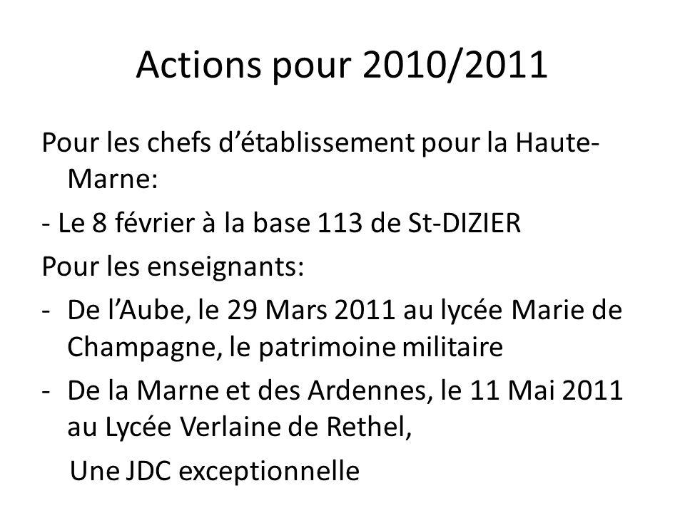 Actions pour 2010/2011 Pour les chefs détablissement pour la Haute- Marne: - Le 8 février à la base 113 de St-DIZIER Pour les enseignants: -De lAube,