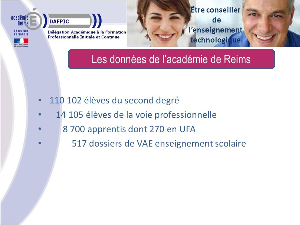 Les données de lacadémie de Reims Être conseiller de lenseignement technologique 110 102 élèves du second degré 14 105 élèves de la voie professionnelle 8 700 apprentis dont 270 en UFA 517 dossiers de VAE enseignement scolaire