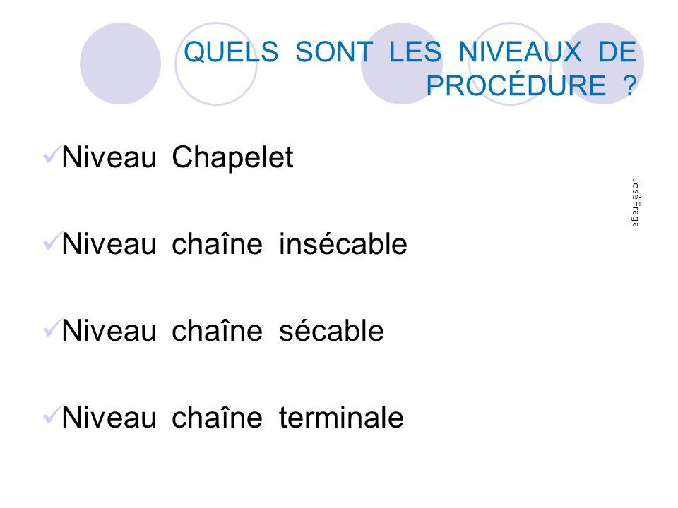 QUELS SONT LES NIVEAUX DE PROCÉDURE ? Niveau Chapelet Niveau chaîne insécable Niveau chaîne sécable Niveau chaîne terminale José Fraga