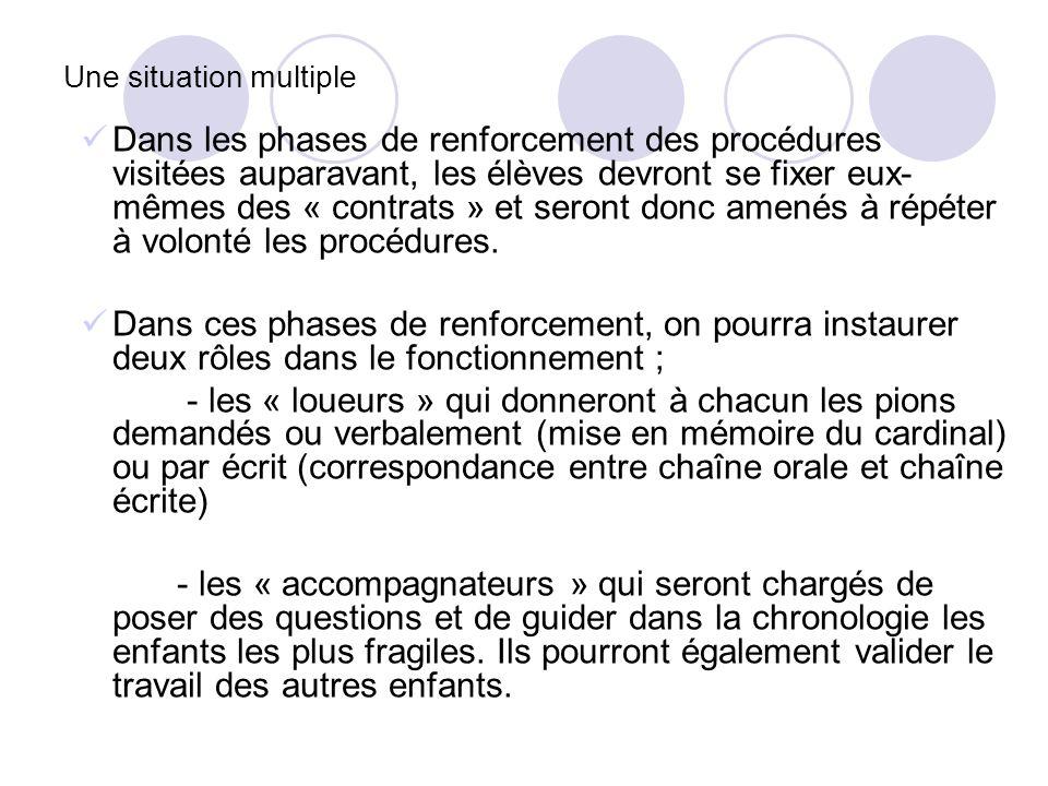 Une situation multiple Dans les phases de renforcement des procédures visitées auparavant, les élèves devront se fixer eux- mêmes des « contrats » et